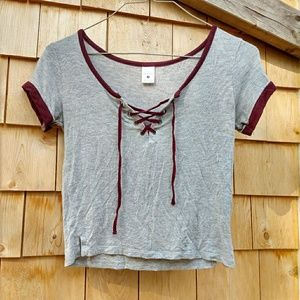 Empyre Cropped Laced up V-Neck Tee